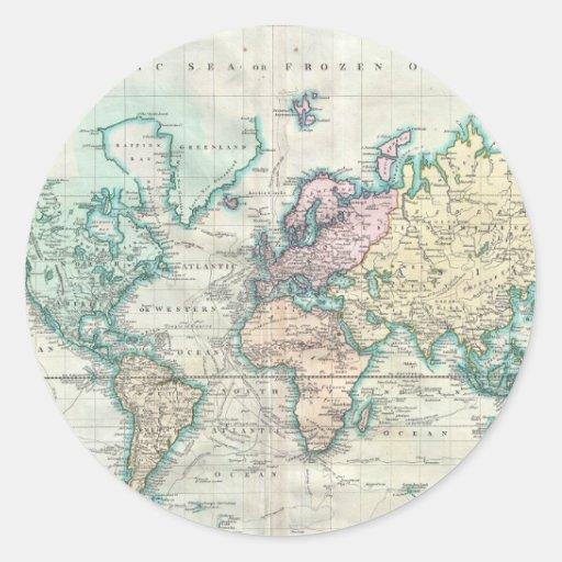 Mapa del vintage del mundo (1801) pegatina redonda