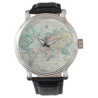 Mapa del vintage del mundo (1801) relojes