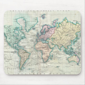 Mapa del vintage del mundo (1801) alfombrillas de ratón