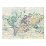 Mapa del vintage del mundo (1801) tarjeta postal