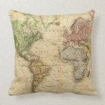 Mapa del vintage del mundo (1831) cojines