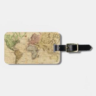 Mapa del vintage del mundo (1831) etiquetas para maletas