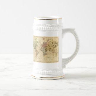 Mapa del vintage del mundo 1831 tazas de café