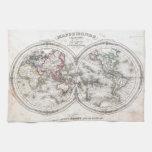 Mapa del vintage del mundo (1848) toallas de cocina