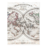 Mapa del vintage del mundo (1848) postal