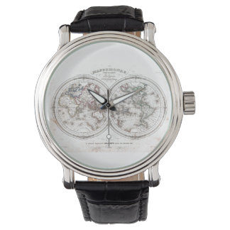 Mapa del vintage del mundo (1848) relojes de pulsera