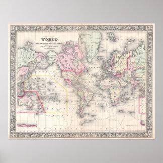 Mapa del vintage del mundo (1864) póster