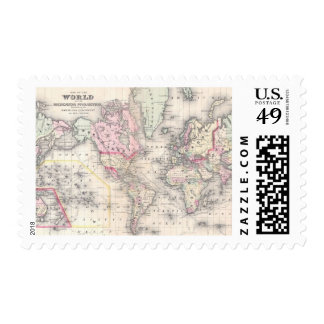 Mapa del vintage del mundo 1864 sello