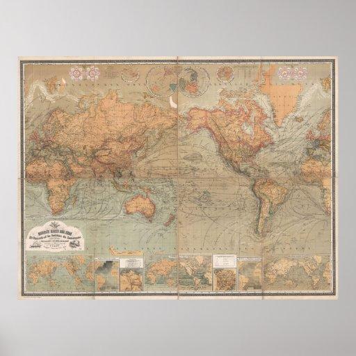 Mapa del vintage del mundo (1870) posters