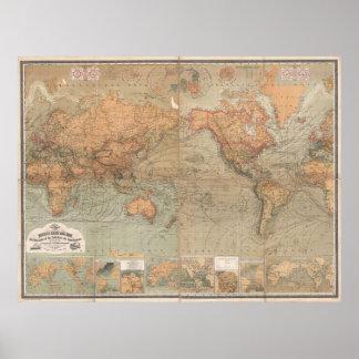 Mapa del vintage del mundo (1870) póster