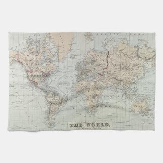 Mapa del vintage del mundo (1875) toalla de cocina