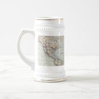 Mapa del vintage del mundo 1875 taza de café