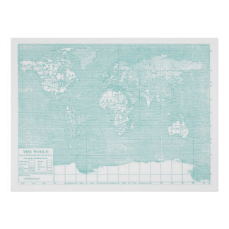 Mapa del vintage del mundo del trullo póster