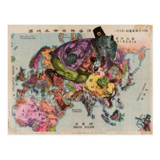 Mapa del vintage del mundo hacia 1900 postales