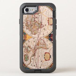 Mapa del vintage del mundo sabido circa 1600 funda OtterBox defender para iPhone 7
