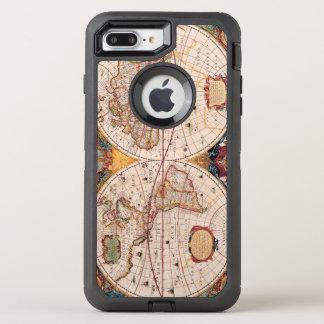 Mapa del vintage del mundo sabido circa 1600 funda OtterBox defender para iPhone 7 plus