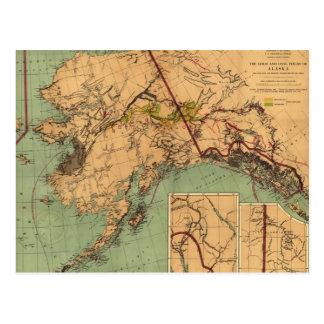 Mapa del vintage del oro y del carbón en Alaska (1 Postal
