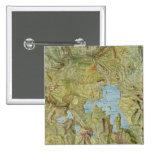 Mapa del vintage del parque nacional de Yellowston Pin Cuadrada 5 Cm