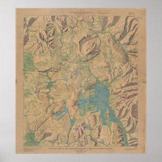 Mapa del vintage del parque nacional de Yellowston Póster