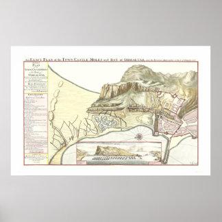 Mapa del vintage del poster 1705 de Gibraltar