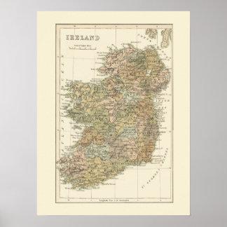 Mapa del vintage del poster 1862 de Irlanda