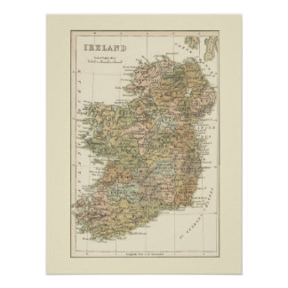 Mapa del vintage del poster 1862 de Irlanda Póster