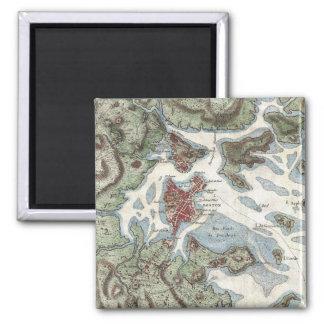 Mapa del vintage del puerto de Boston (1807) Imán Cuadrado
