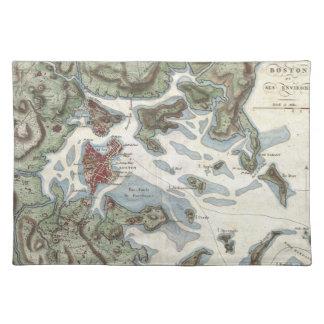 Mapa del vintage del puerto de Boston (1807) Mantel Individual
