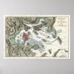Mapa del vintage del puerto de Boston (1807) Posters