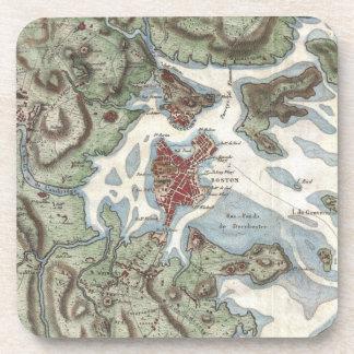 Mapa del vintage del puerto de Boston (1807) Posavasos