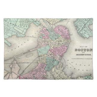 Mapa del vintage del puerto de Boston (1857) Manteles