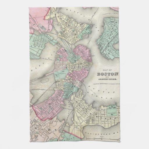 Mapa del vintage del puerto de Boston (1857) Toalla De Cocina