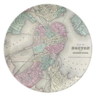 Mapa del vintage del puerto de Boston (1857) Plato Para Fiesta