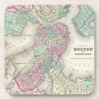 Mapa del vintage del puerto de Boston (1857) Posavasos De Bebida