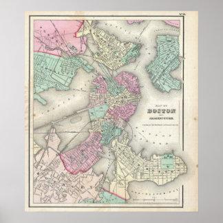 Mapa del vintage del puerto de Boston (1857) Póster
