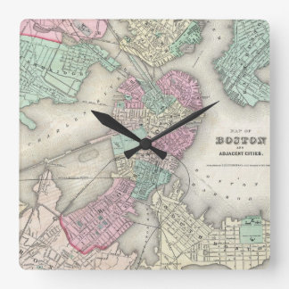 Mapa del vintage del puerto de Boston (1857) Reloj Cuadrado