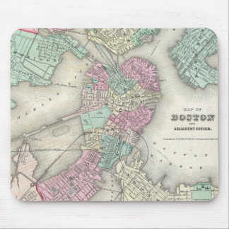 Mapa del vintage del puerto de Boston (1857) Tapete De Ratones