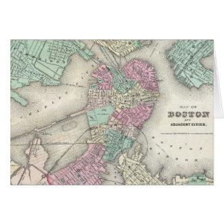Mapa del vintage del puerto de Boston (1857) Tarjeta De Felicitación