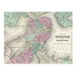 Mapa del vintage del puerto de Boston (1857) Tarjetas Postales