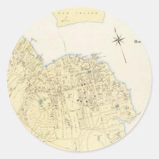 Mapa del vintage del puerto Maine (1897) de la Pegatina Redonda