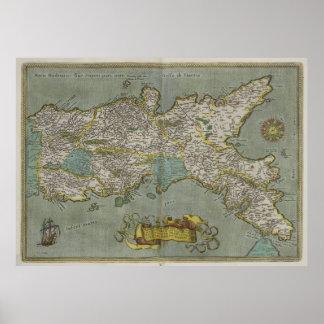 Mapa del vintage del Reino de Nápoles (1608) Póster