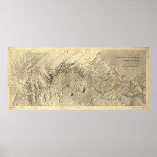 Mapa del vintage del río Colorado (1858) Póster