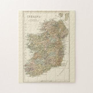Mapa del vintage del rompecabezas de Irlanda 1862