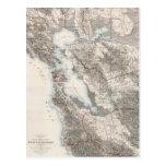 Mapa del vintage del San Francisco Bay (1873) Postal