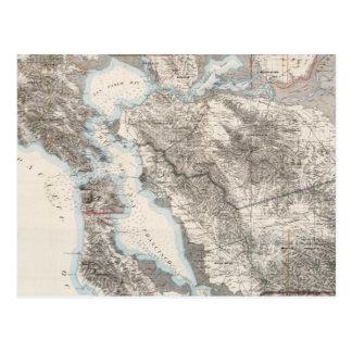 Mapa del vintage del San Francisco Bay (1873) Tarjetas Postales