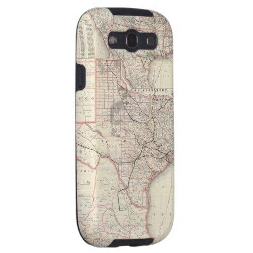 Mapa del vintage del sistema del ferrocarril de Te Samsung Galaxy S3 Protectores