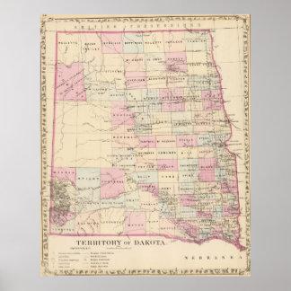 Mapa del vintage del territorio de Dakota (1880) Póster
