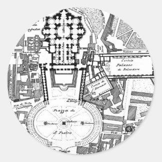 Mapa del vintage del Vatican (1914) Pegatina Redonda