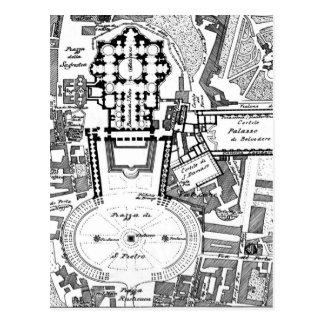 Mapa del vintage del Vatican (1914) Postales