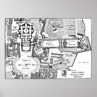 Mapa del vintage del Vatican (1914) Póster